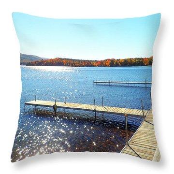 Fall On Lake Dunmore Throw Pillow