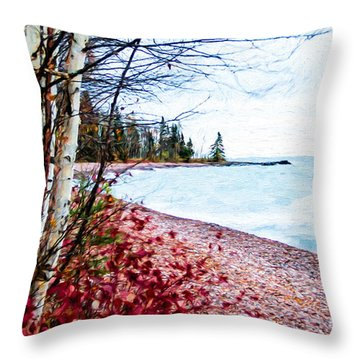 Fall On Lake Superior Throw Pillow