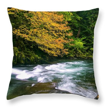 Fall On The Clackamas River, Or Throw Pillow