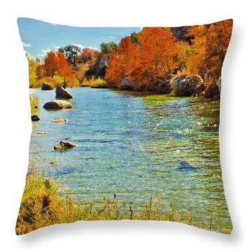 Fall On The Medina River Throw Pillow