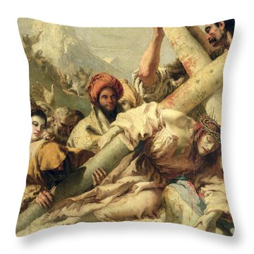 Fall On The Way To Calvary Throw Pillow by G Tiepolo