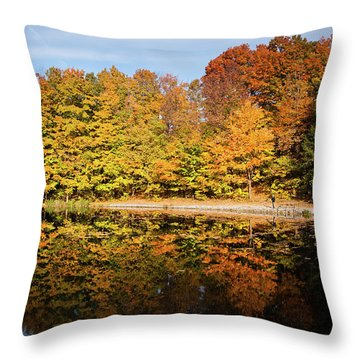 Fall Ontario Forest Reflecting In Pond  Throw Pillow