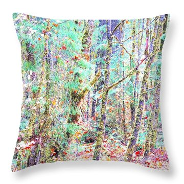 Fall Oregon Forest Throw Pillow