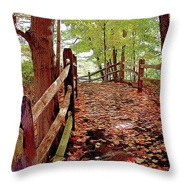 Fall Pathway Throw Pillow