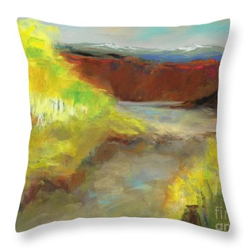 Throw Pillow featuring the painting Fall Ponds by Frances Marino