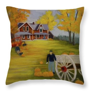 Fall Pumpkin Harvest Throw Pillow