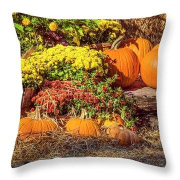 Fall Pumpkins Throw Pillow by Carolyn Marshall