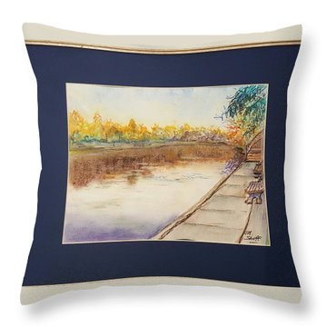 Fall Reflections At Weldon Springs Near Clinton, Il Throw Pillow