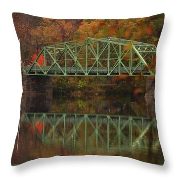 Fall Rocks Village Bridge Throw Pillow