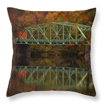 Fall Rocks Village Bridge Throw Pillow