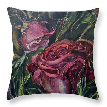 Throw Pillow featuring the painting Fall Roses by Nadine Dennis