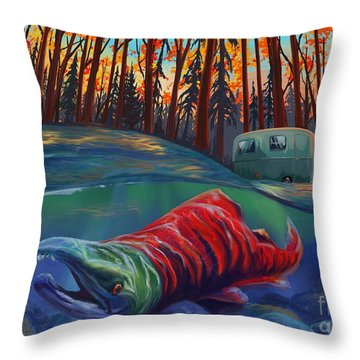 Fall Salmon Fishing Throw Pillow