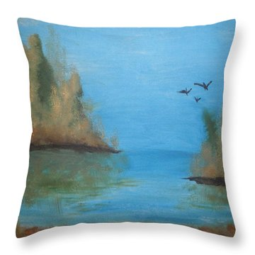 Throw Pillow featuring the painting Fall Scene by Betty-Anne McDonald