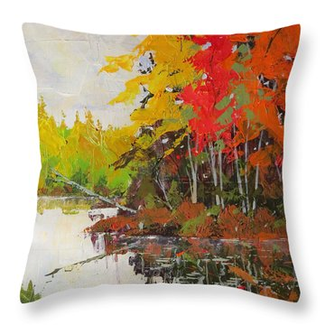 Fall Scene Throw Pillow by David Gilmore