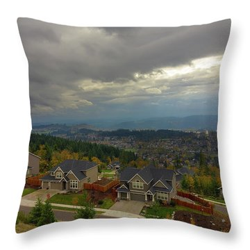 Fall Season In Happy Valley Oregon Throw Pillow by David Gn
