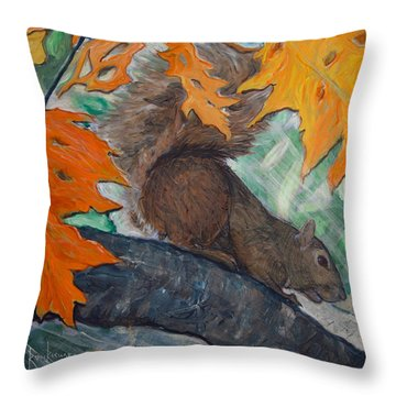 Fall Squirrel Throw Pillow