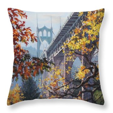Fall St Johns Throw Pillow by Karen Ilari