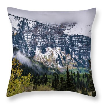 Throw Pillow featuring the photograph Fall Storm In Wasatch Mountains - Utah by Gary Whitton