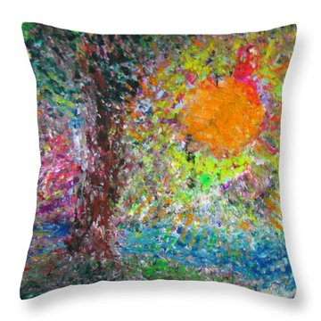 Throw Pillow featuring the painting Fall Sun by Jacqueline Athmann