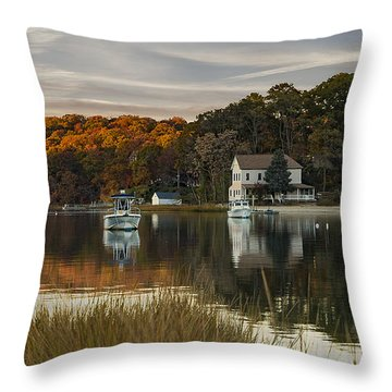 Fall Sunset In Centerport  Throw Pillow
