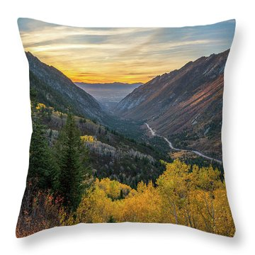 Fall Sunset In Little Cottonwood Canyon Throw Pillow