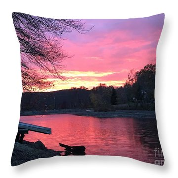 Fall Sunset On The Lake Throw Pillow