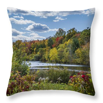 Fall Time On The Lake Throw Pillow
