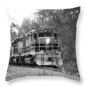 Fall Train In Black And White Throw Pillow