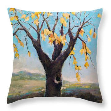 Throw Pillow featuring the painting Fall Tree In Virginia by Becky Kim
