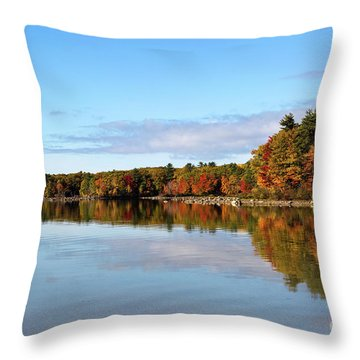 Fall Tree Reflections Lake Sabago Maine Throw Pillow