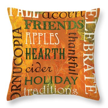 Fall Typography 2 Throw Pillow