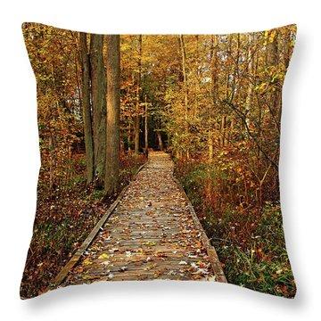 Fall Walk Throw Pillow by Debbie Oppermann