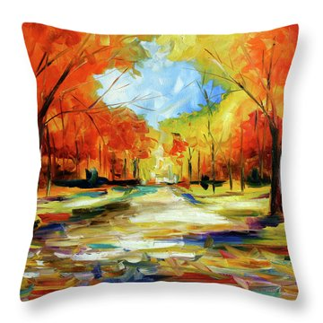 Fall Walk In The Trees Throw Pillow