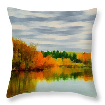 Fall Water Painterly Rendering Throw Pillow by Michael Flood