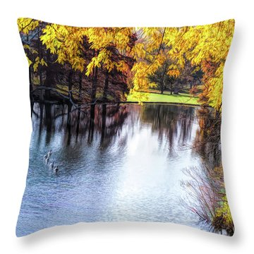 Fall Yellow Boarder Throw Pillow