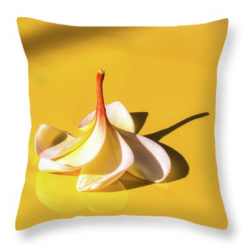 Throw Pillow featuring the photograph Fallen Frangipani On Mustang by Louise Lindsay