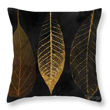 Fallen Gold II Autumn Leaves Throw Pillow
