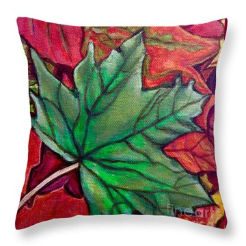 Throw Pillow featuring the painting Fallen Green Maple Leaf In The Fall by Kimberlee Baxter