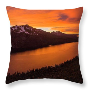 Fallen Leaf Lake Sunset Aerial By Brad Scott Throw Pillow
