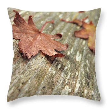 Throw Pillow featuring the photograph Fallen Leaves by Peggy Hughes