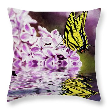 Fallen Lilacs Throw Pillow by Diane Schuster