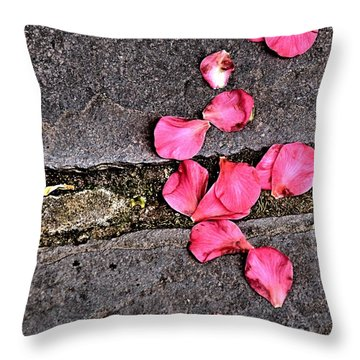 Throw Pillow featuring the photograph Fallen Petals by Bob Wall