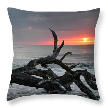 Fallen Tree In Ocean At Sunrise Throw Pillow by Bruce Gourley