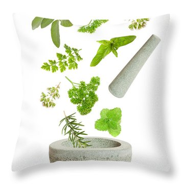 Falling Herbs Throw Pillow by Amanda Elwell