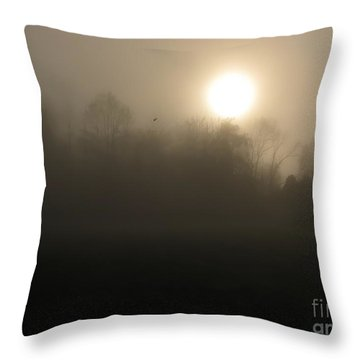 Falling Leaf In Morning Fog Throw Pillow