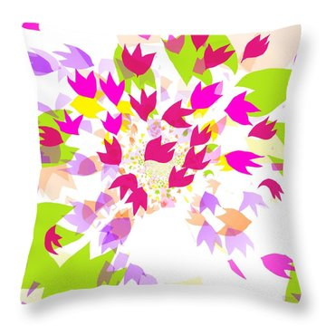 Throw Pillow featuring the digital art Falling Leaves by Barbara Moignard
