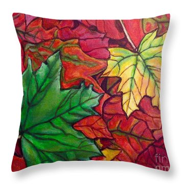 Falling Leaves I Painting Throw Pillow
