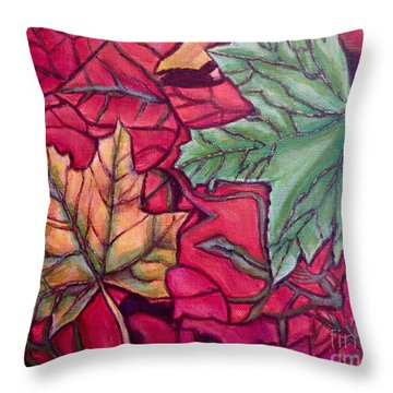 Throw Pillow featuring the painting Falling Leaves Two Painting by Kimberlee Baxter