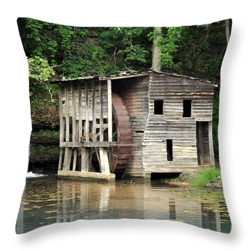 Falling Spring Mill 3 Throw Pillow by Marty Koch