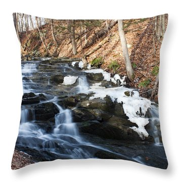 Throw Pillow featuring the photograph Falling Waters In February #1 by Jeff Severson